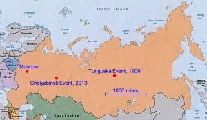 The vastness of Russia has had two significant meteor events in a bit more than 100 years. Original image from www.utexas.edu.