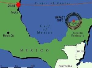 Yucatan Event, circa 66 million years B.C. Image from www.earlhan.edu.