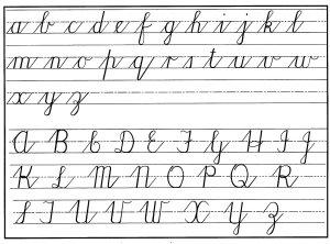 A cursive alphabet.