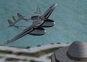 SM.55X buzzes Chicago landmark in Microsoft Computer Flight Simulator. Model by Massimo Taccoli.