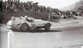 Phil Hill and RIchie Ginther in a Ferrari 375 MM in the 1954 Carrera Panamericana.