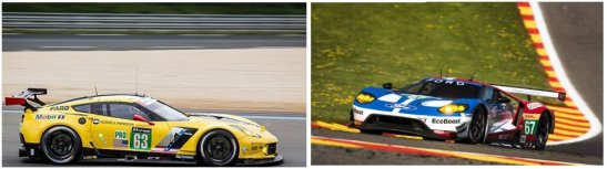 Two of the contenders in LMGTE-Pro. At left, the Chevrolet Corvette C.7R and the Ford GT.