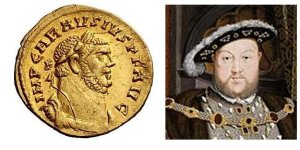 At left, Mausaeus Carausius. At right, Henry VIII.